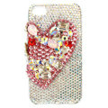 Bling S-warovski Heart covers diamond crystal cases for iPhone 4G - Red