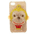 Bling S-warovski Monkey crystals diamond cases covers for iPhone 4G - Yellow