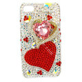 Bling S-warovski Two Heart covers diamond crystal cases for iPhone 4G - Red