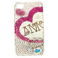 Bling S-warovski lovers Heart covers crystal diamond cases for iPhone 4G - Rose