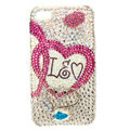 Bling S-warovski lovers Heart covers diamond crystal cases for iPhone 4G - Rose