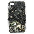 Bling Skulls S-warovski diamond crystals cases covers for iPhone 4G - Black