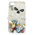 Bling Skulls S-warovski diamond crystals cases covers for iPhone 4G - White