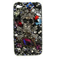 Bling Skulls rock S-warovski diamond crystals cases covers for iPhone 4G - Black