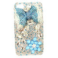 Bling bowknot S-warovski crystals diamond cases covers for iPhone 4G - Blue