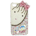 Bling bowknot S-warovski crystals diamond cases covers for iPhone 4G - Pink EB002