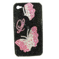 Bling Butterfly S-warovski crystals diamonds cases covers for iPhone 4G - Pink