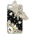 Bling Eagle S-warovski crystals diamond cases covers for iPhone 4G - White