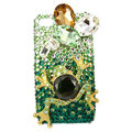 Bling Frog S-warovski crystal diamond cases covers for iPhone 4G - Green