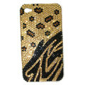 Bling Leopard S-warovski crystal diamonds cases covers for iPhone 4G - Yellow
