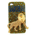Bling Lion MGM S-warovski crystals diamond cases covers for iPhone 4G - Gold