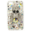 Bling Skull S-warovski crystals diamonds cases covers for iPhone 4G - White