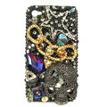 Bling Skull chain S-warovski crystals diamond cases covers for iPhone 4G - Black