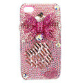 Bling bowknot S-warovski crystal diamond cases covers for iPhone 4G - Pink EB003