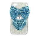 Bling bowknot S-warovski crystals diamonds cases covers for iPhone 4G - Blue