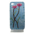 Bling flowers S-warovski crystal diamond cases covers for iPhone 4G - Blue