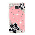 Bling Black Camellia Flowers S-warovski crystals diamond cases covers for Samsung i9100 Galasy S II S2 - Pink