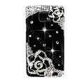 Bling Black Flowers S-warovski crystals diamond cases covers for Samsung i9100 Galasy S II S2 - Black