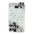 Bling Black Flowers S-warovski crystals diamond cases covers for Samsung i9100 Galasy S II S2 - White