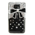 Bling Bowknot S-warovski crystals diamond cases covers for Samsung i9100 Galasy S II S2 - Black