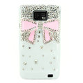 Bling Bowknot S-warovski crystals diamond cases covers for Samsung i9100 Galasy S II S2 - Pink
