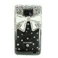 Bling Bowknot S-warovski crystals diamond cases covers for Samsung i9100 Galasy S II S2 - White