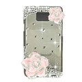 Bling Camellia S-warovski crystals diamond cases transparency covers for Samsung i9100 Galasy S II S2 - Pink