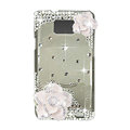 Bling Camellia S-warovski crystals diamond cases transparency covers for Samsung i9100 Galasy S II S2 - White