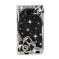 Bling Flowers S-warovski crystals diamond cases transparency covers for Samsung i9100 Galasy S II S2 - Black