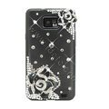 Bling Flowers S-warovski crystals diamond silicone cases covers for Samsung i9100 Galasy S II S2 - Black