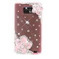 Bling Flowers S-warovski crystals diamond silicone cases covers for Samsung i9100 Galasy S II S2 - Pink