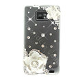 Bling Flowers S-warovski crystals diamond silicone cases covers for Samsung i9100 Galasy S II S2 - White