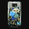 Bling Fox S-warovski crystals diamond cases covers for Samsung i9100 Galasy S II S2 - Blue