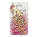 Bling Peacock S-warovski crystals diamond cases covers for Samsung i9100 Galasy S II S2 - Pink
