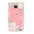 Bling Pink Camellia Flowers S-warovski crystals diamond cases covers for Samsung i9100 Galasy S II S2 - Pink