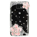 Bling Pink Flowers S-warovski crystals diamond cases covers for Samsung i9100 Galasy S II S2 - Black