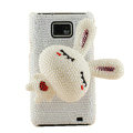 Bling Rabbit Pearls cases covers for Samsung i9100 Galasy S II S2 - White