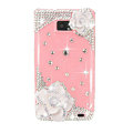 Bling White Camellia Flowers S-warovski crystals diamond cases covers for Samsung i9100 Galasy S II S2 - Pink