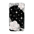 Bling White Flowers S-warovski crystals diamond cases covers for Samsung i9100 Galasy S II S2 - Black