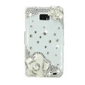Bling White Flowers S-warovski crystals diamond cases covers for Samsung i9100 Galasy S II S2 - White