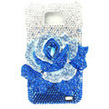 Flower bling S-warovski crystals diamond cases covers for Samsung i9100 Galasy S II S2 - Blue