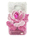 Flower bling S-warovski crystals diamond cases covers for Samsung i9100 Galasy S II S2 - Pink