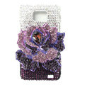 Flower bling S-warovski crystals diamond cases covers for Samsung i9100 Galasy S II S2 - Purple
