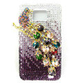 Magpies bling S-warovski crystals diamond cases covers for Samsung i9100 Galasy S II S2 - Purple
