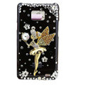Angel girl bling S-warovski crystals cases covers for Samsung i9100 Galasy S II S2 - Black