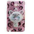 Bling Cat S-warovski crystals diamond cases covers for Samsung Galaxy Note I9220 - Pink