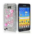 Bling Hearts crystals diamond cases covers for Samsung Galaxy Note I9220 - Pink
