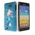 Bling Rabbit crystals diamond cases covers for Samsung Galaxy Note I9220 - Blue