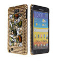 Bling big crystals diamond cases covers for Samsung Galaxy Note I9220 - Brown