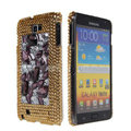 Bling big crystals diamond cases covers for Samsung Galaxy Note I9220 - Coffee
